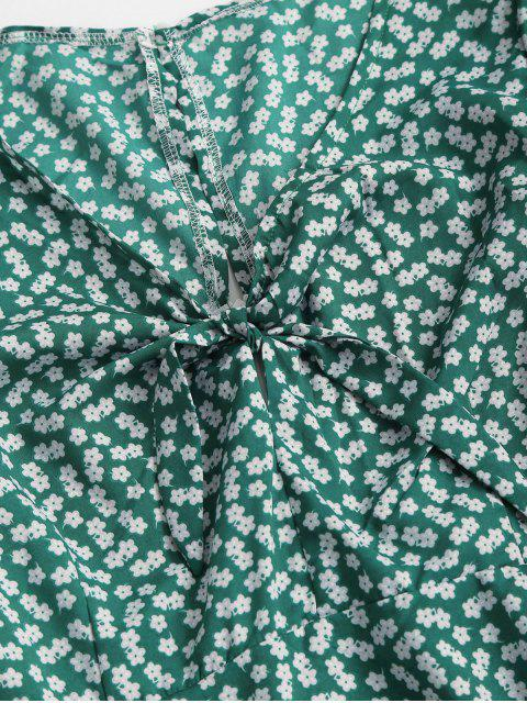 chic Ditsy Print Tie Knot Plunging Mini Dress - DEEP GREEN L Mobile