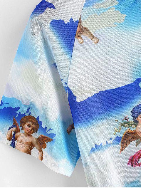 ladies Angel Print Mesh Crop Top - BLUE L Mobile
