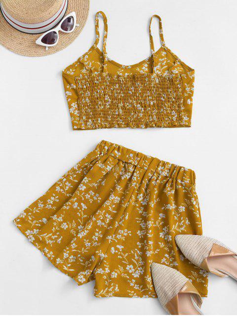 Ditsydruck Kittel Shorts mit Weitem Bein Set - Gelb S Mobile