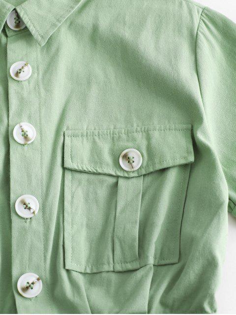 Pagliaccetto Cargo con Cintura e Tasche con Patta e Bottoni - Verde chiaro S Mobile