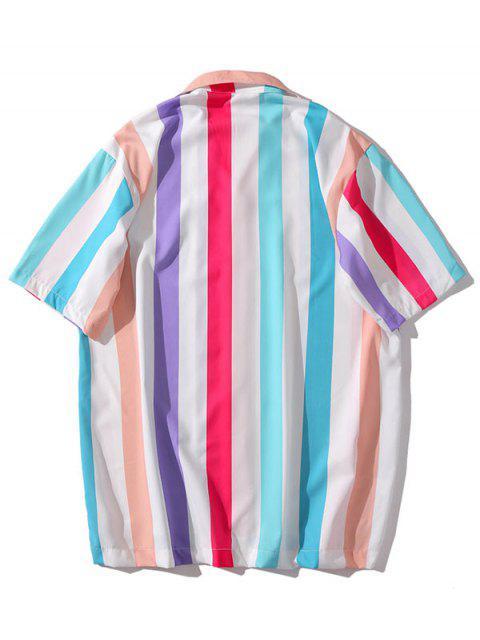 unique Colorful Striped Print Casual Shirt - MULTI-H XL Mobile