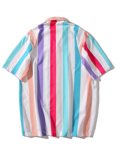 trendy Colorful Striped Print Casual Shirt - MULTI-H L Mobile