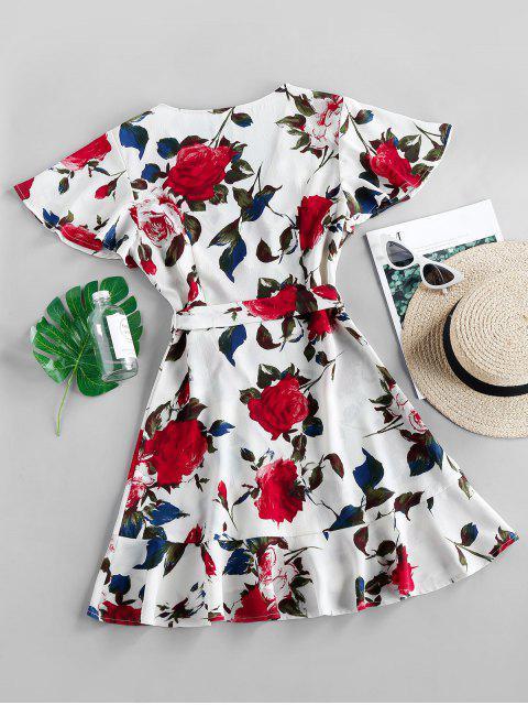 ZAFUL Mini Vestido de Escote de Plegado Oblicuo con Estampado Floral - Crema de Cristal L Mobile