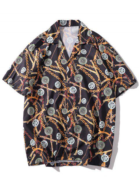 fashion Casual Chain Print Short Sleeves Shirt - MULTI-E M Mobile