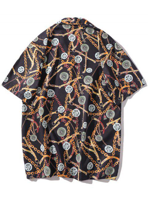 unique Casual Chain Print Short Sleeves Shirt - MULTI-E 2XL Mobile