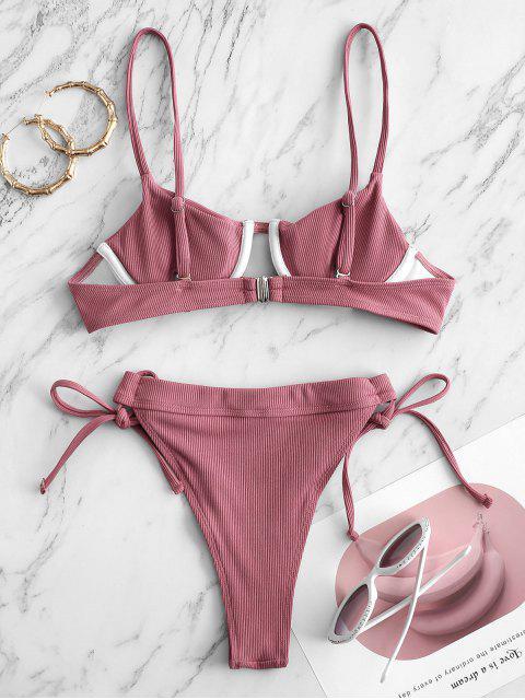 shops ZAFUL Ribbed Underwire Tie Bikini Swimwear - PALE VIOLET RED S Mobile