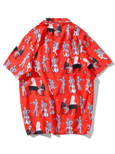 Camicia Casuale con Motivo di Instrumento Musicale - Rosso 2XL Mobile