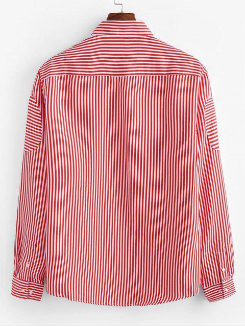 Camicia con Stampa a Righe e Maniche Lunghe e Bottoni - Rosso 2XL Mobile