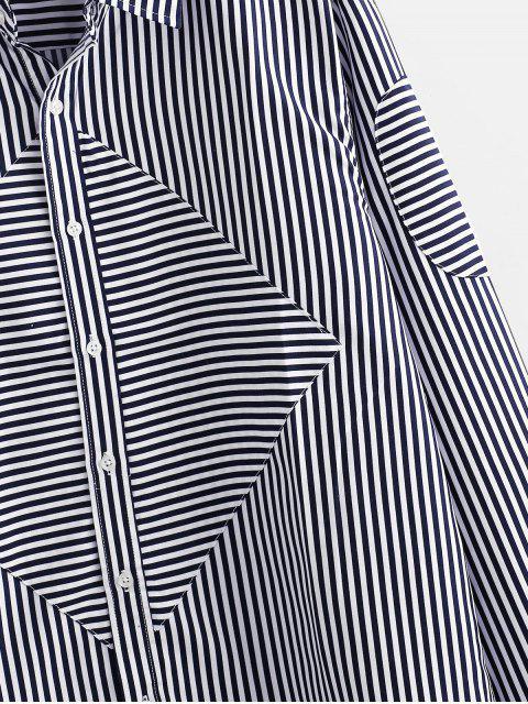 ladies Striped Print Long-sleeved Button Shirt - DARK SLATE BLUE S Mobile