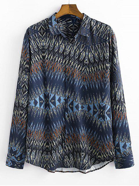 chic Novelty Printed Button Long-sleeved Shirt - NAVY BLUE 2XL Mobile