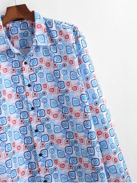 women's Geometric Printed Button Long-sleeved Shirt - WHITE S Mobile