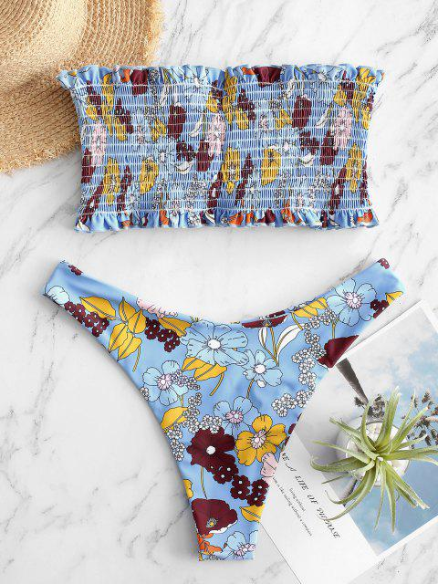ZAFUL Blumen Kittel Bandeau Bikini Badebekleidung mit Hohem Schnitt - Multi-B S Mobile