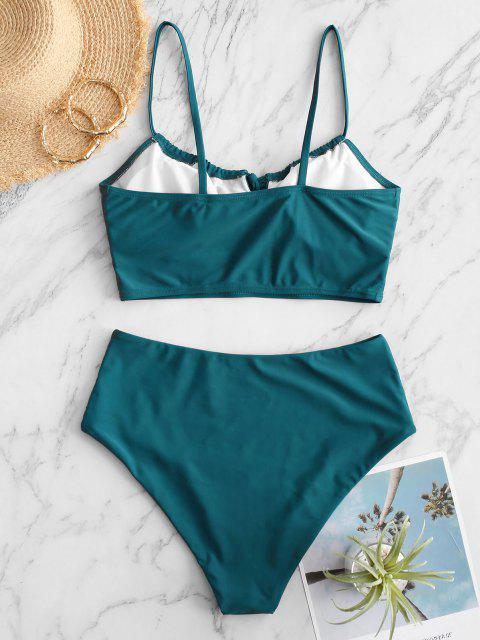 ZAFUL Tankini Badebekleidung mit Rüschen und Hohem Schnitt - Blaugrün XL Mobile
