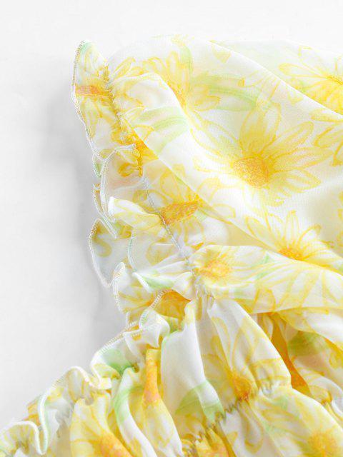 ZAFUL Blusa Corta de Bata de Girasol - Amarillo XL Mobile