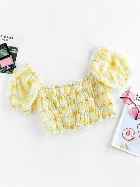 ladies ZAFUL Sunflower Smocked Ruffle Crop Blouse - YELLOW L Mobile