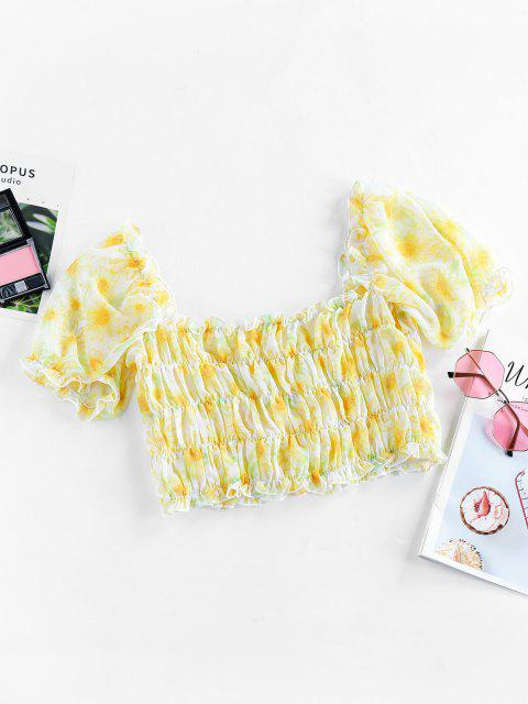 new ZAFUL Sunflower Smocked Ruffle Crop Blouse - YELLOW S Mobile