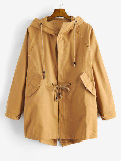 Solid Color Zipper Casual Trench Coat - Goldenrod Xl