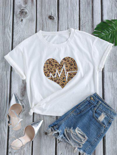 ZAFUL Leopard Heart Print Short Sleeve T-shirt - White M