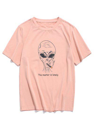 ZAFUL Letter Cartoon Pattern T-shirt - Rose S