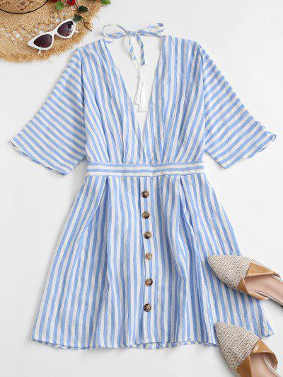 Striped Mock Button Plunging Mini Dress - Multi-a S