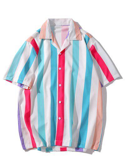 Camisa às Riscas Casual De Impressão Colorida - Multi-h 2xl