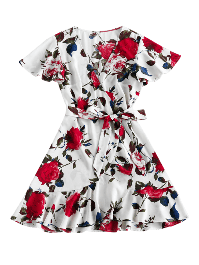 ZAFUL Floral Print Mini Surplice Dress