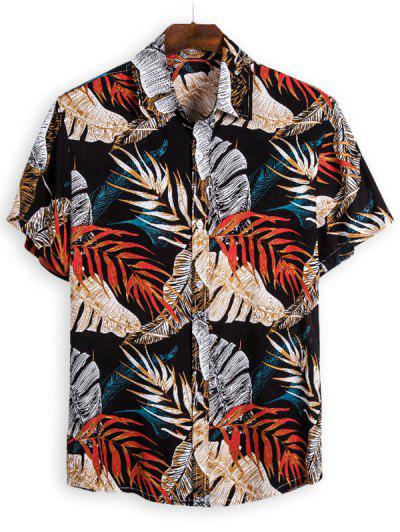 Leaves Print Vintage Short Sleeve Shirt - Multi L