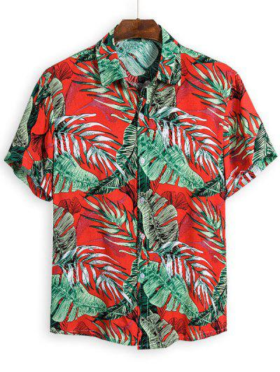 Leaves Pattern Hawaii Button Up Shirt - Multi L