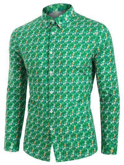 Camisa Manga Larga Cuadros Hojas Minúsculos - Verde Xl