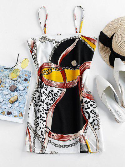 ZAFUL 3D Chain Belt Leopard Print Mini Bodycon Dress - Black L