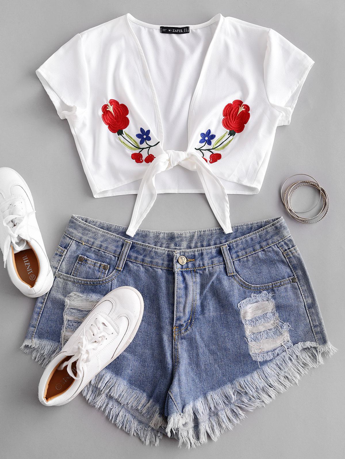 Flower Embroidered Tie Hem Crop Blouse, White