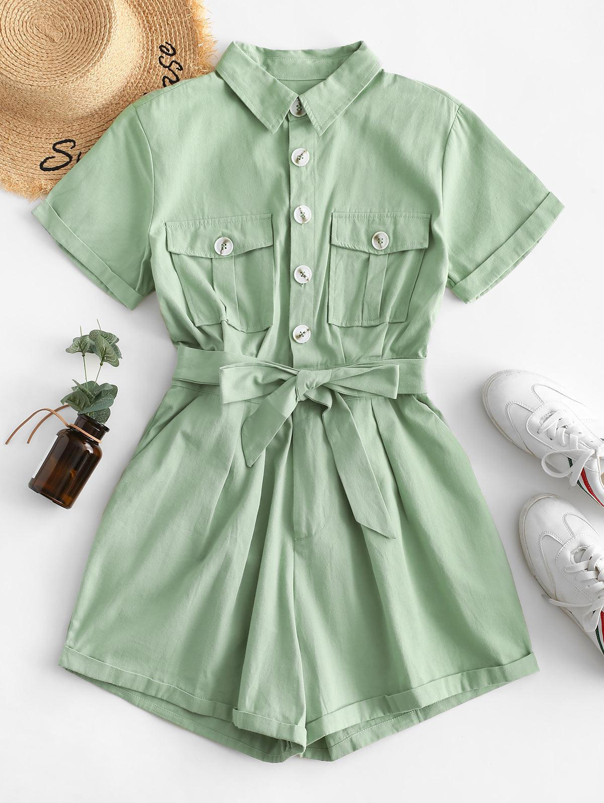 Flap Pockets Belted Half Buttoned Cargo Romper