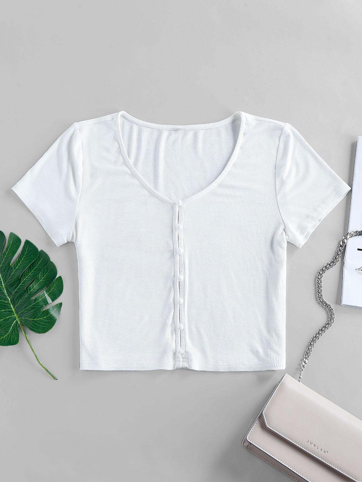 ZAFUL Ribbed Loop Button V Neck Crop T-shirt