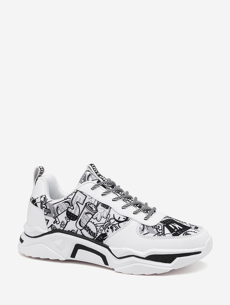 Graffiti Panel Lace Up Sneakers