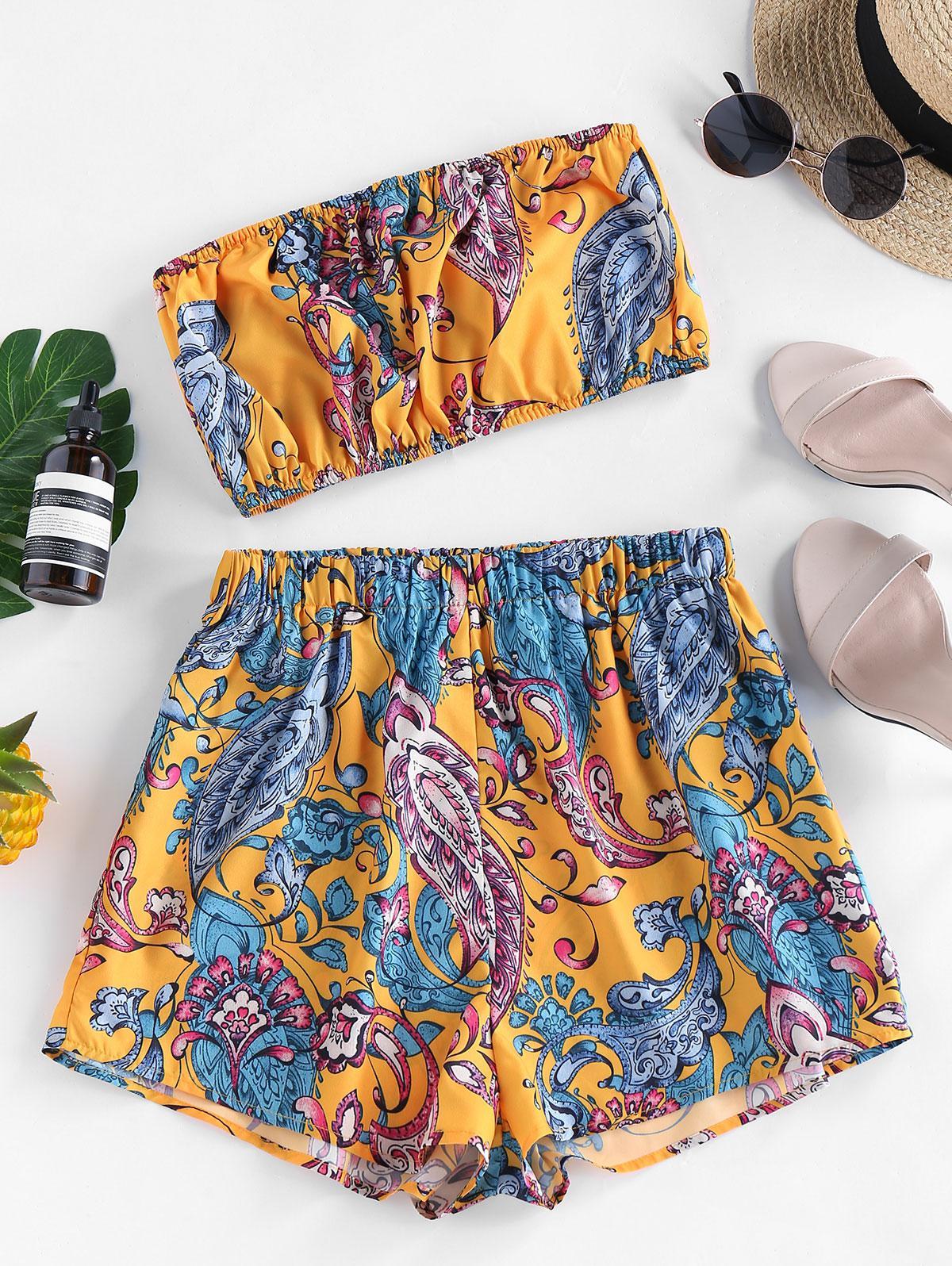 ZAFUL Strapless Flower Print High Waisted Shorts Set