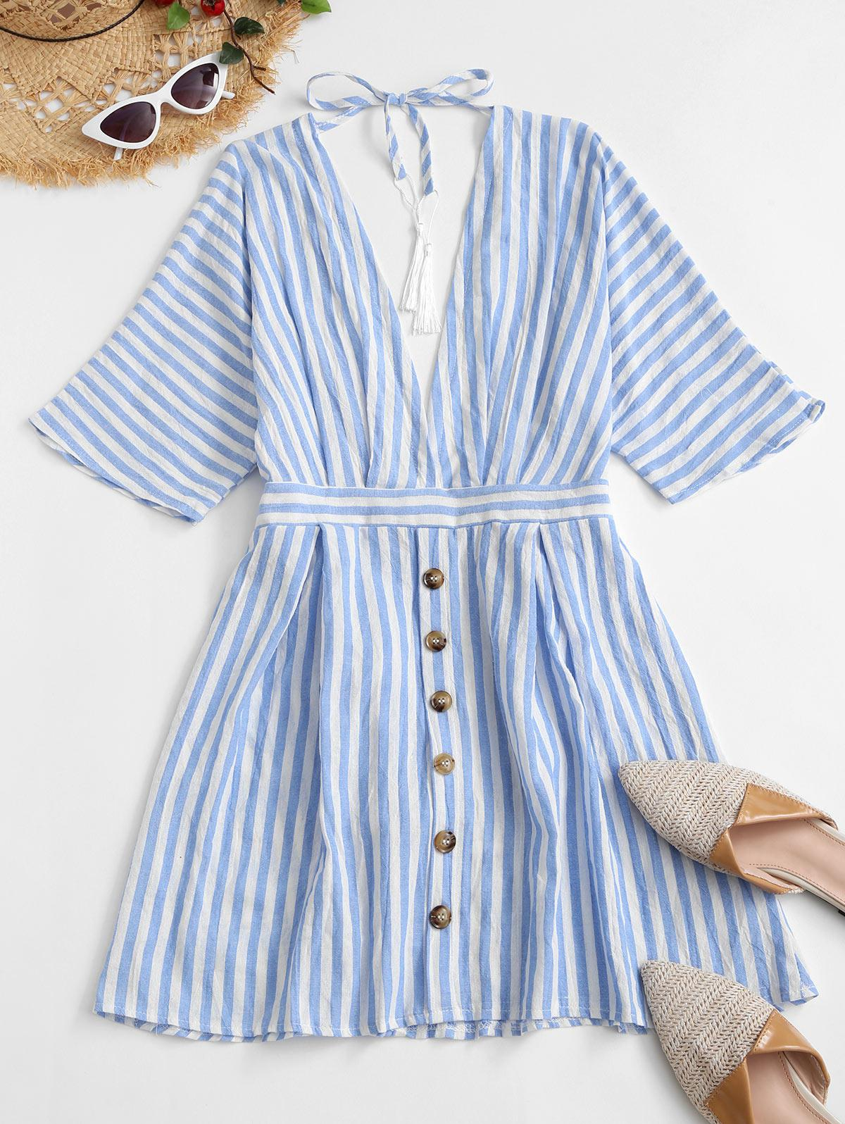 Striped Mock Button Plunging Mini Dress