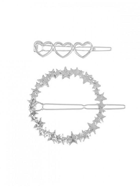 ladies 2Pcs Heart Stars Hollow Hairgrip Set - SILVER