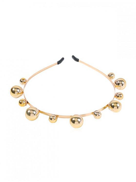 Banda de Cabello de Aleación de Perlas de Imitación Breve - Oro
