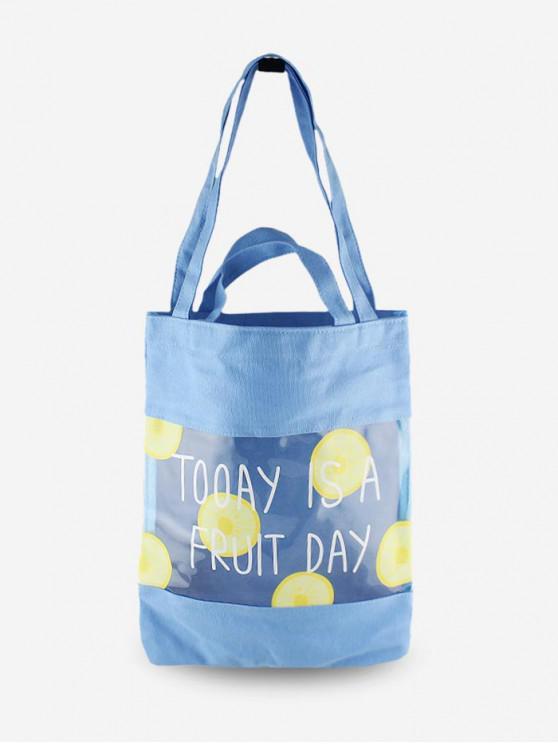 الفاكهة طباعة شفافة حمل حقيبة - أزرق