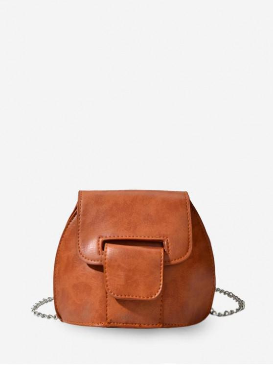 fashion Mini Chain Cross Body Bag - BROWN