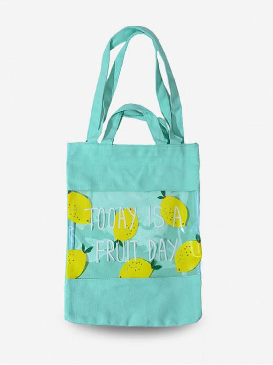 chic Fruit Print Transparent Tote Bag - GREEN YELLOW