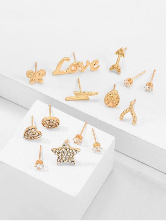 fancy 14Pcs Letter Star Rhinestone Earrings Set - GOLD