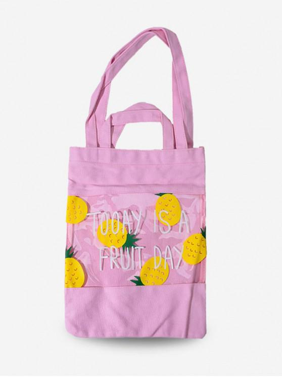 affordable Fruit Print Transparent Tote Bag - LIGHT PINK