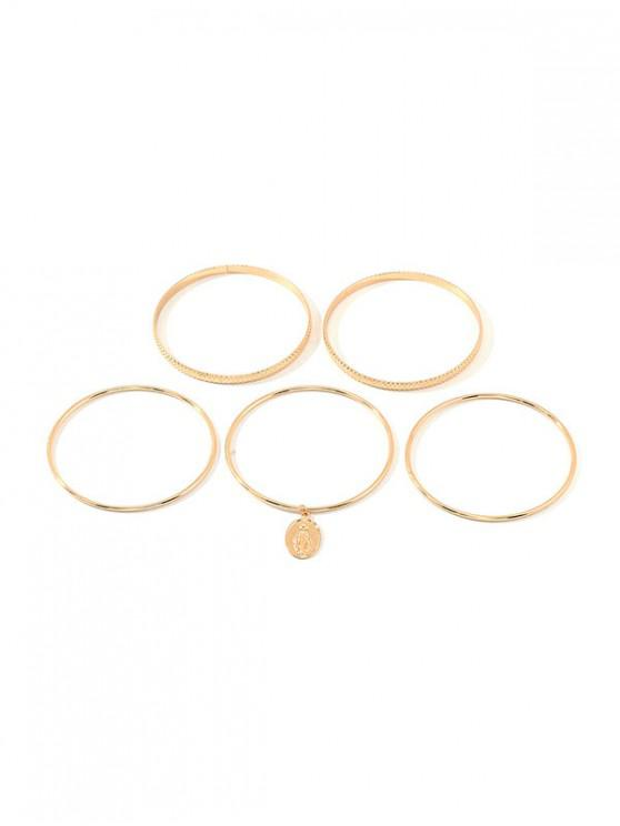 women's Simple Style Portrait Bangle Set - GOLD