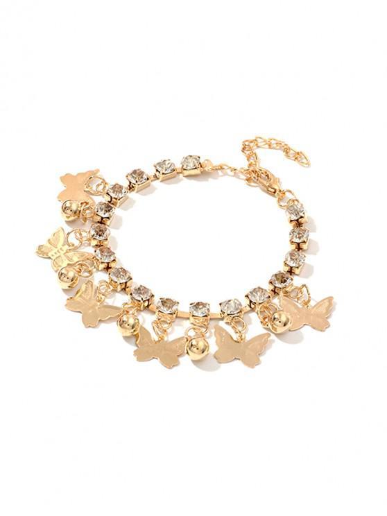 fashion Butterfly Rhinestone Charm Bracelet - GOLD