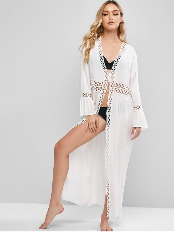 outfit Longline Tie Front Crochet Trim Beach Cover Up - WHITE ONE SIZE