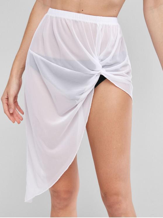 outfits Twist Sheer Mesh Asymmetrical Skirt - WHITE M