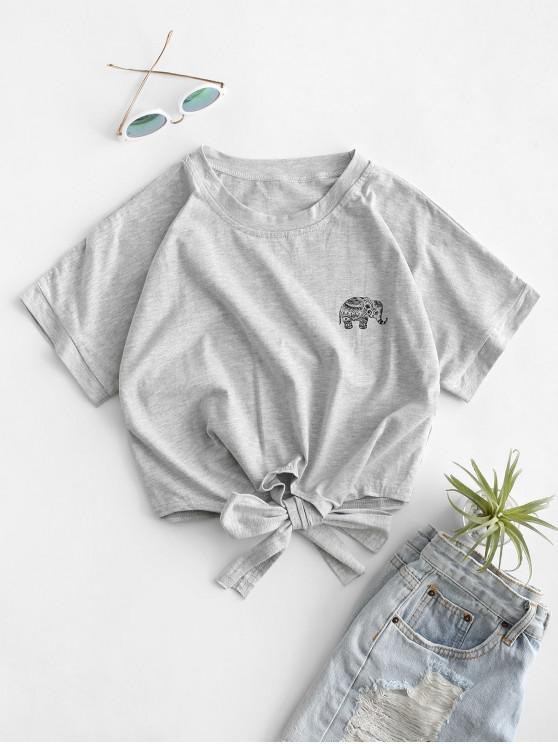 ladies Elephant Graphic Tie Hem Cropped Tee - LIGHT GRAY M