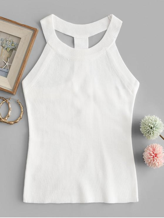 fashion T Strap Crew Neck Knitted Tank Top - WHITE ONE SIZE