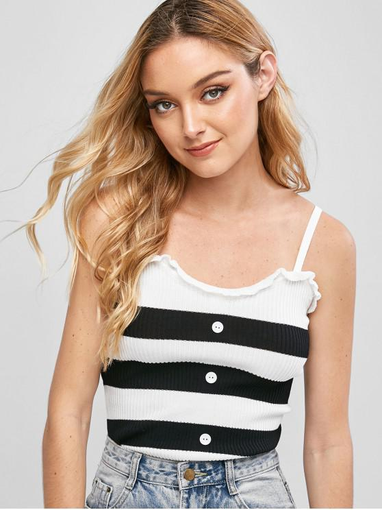 affordable Knitted Contrast Stripes Cami Top - BLACK ONE SIZE